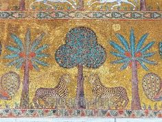 Byzantine Art : Mosaic with vegetations and leopards . Detail . Decoration of the hall of King Roger II ( Ruggero ) at Palace of the Normans ( Palazzo dei Normanni ) to Palermo . 12th century Sicily