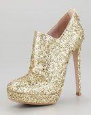 Miu Miu Zip-Back Glitter Bootie - Neiman Marcus..Haveno idea what to wear with it but I still want it