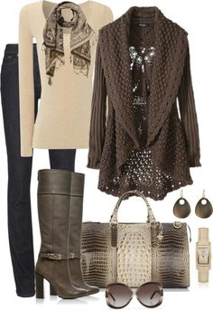 Cream long-sleeve shirt, brown cardigan, brown scarf, jeans, handbag, and brown boots,