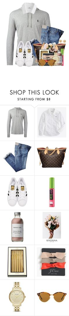 """""""~first of all you're gorgeous~"""" by flroasburn ❤ liked on Polyvore featuring Polo Ralph Lauren, Vineyard Vines, Louis Vuitton, adidas Originals, Maybelline, French Girl, Kiyonna, Kate Spade, J.Crew and Ray-Ban"""