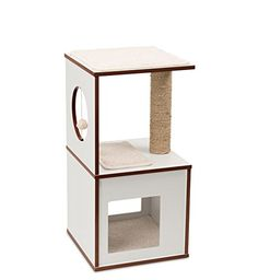 Looking for a cat tree without carpet? Check out the sleek curved Lotus or the modular cat furniture inspired by Tetris. Make yourself & your cats happy at a price you'll love! Cat Tree Condo, Cat Condo, Vesper Cat Furniture, Cat Tree Plans, Cool Cat Trees, Cat Store, Condo Furniture, Wood Cat, Cat Accessories