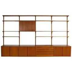 Large 1960s Poul Cadovius Teak Wall Unit 'Royal Shelf System' Cado, Denmark