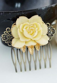 Vintage Style Rose Flower Comb Bridal Hair Comb Bridal Hair Accessories from EarringsNation Vintage Style Weddings