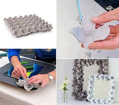 Recycling egg cartons is a fun project, Using them to create beautiful flowers that can be used for gifts and cards, to decorate mirror frames ,photo frames....  Step by step--> http://wonderfuldiy.com/wonderful-diy-flower-mirror-frame-from-egg-carton/  More #DIY projects: www.wonderfuldiy.com