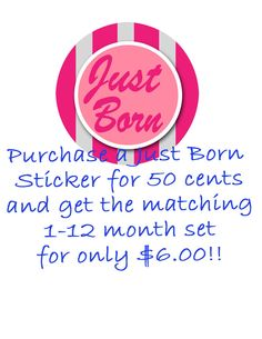 Just Born Onesie - Printable - Pink and Gray Stripes - Stickers or Iron on Transfer. $0.50, via Etsy.