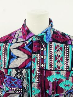 Vintage AWESOME Rocky Geometric Psychedelic Indie Print Cowboy Western Shirt XL