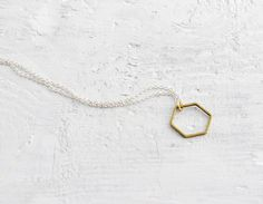 canitbemine:  Brass hexagon necklace from etsy.