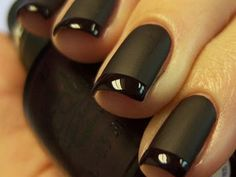 Chic black French manicure, matted versus shiny.