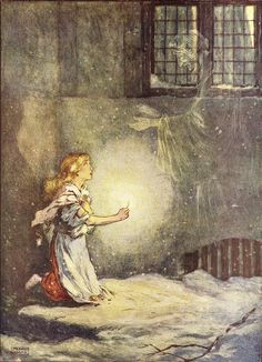 The Little Match Girl by Hans Christian Andersen - Illustration by Frank Adams Edmund Dulac, The Little Match Girl, Hans Christian, Fairy Land, Fairy Tales, Fairytale Art, Children's Book Illustration, Rwby, Illustrators