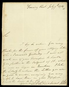 William Pitt letter from July 1784.