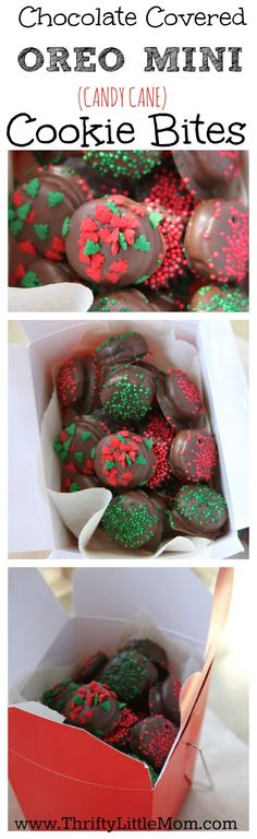 Want to make a homemade gift that's easy, delicious and you can do with your kids? See this tutorial on making chocolate covered OREO MINI Cookie Bites. Chocolate provided by Chocoley. Mini Desserts, Holiday Desserts, Holiday Baking, Holiday Treats, Holiday Recipes, Christmas Sweets, Christmas Cooking, Christmas Goodies, Homemade Christmas