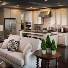 The Best Open Concept Kitchen Design Trends of 2018 #Open #Concept #Kitchen #small #layout #remodel #ideas #anddining Open concept kitchen- living room is perfect for small apartments but it also looks gorgeous in big spaces when the kitchen is connected with the dining room