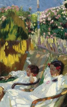 ⊰ Posing with Posies ⊱ paintings of women and flowers - Joaquin Sorolla y BastidaLa | Siesta en el Jardin (detail)