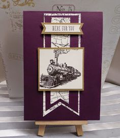 Stampin Up at The Warren introducing the new Triple Banner Punch.I have paired it with this fab Steam Train Rubber Stamp from the Traveler Stamp Set, using the 2014-16 In Colour Blackberry Bliss Cardstock