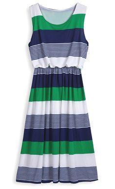Vestido rayas plisado-Verde EUR€22.84
