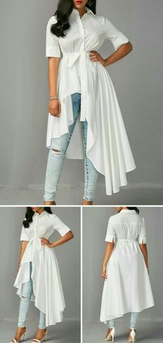 Asymmetric Hem Half Sleeve White Long Shirt, take a look on our site for more detail about this blouse. Fashion Wear, Look Fashion, Hijab Fashion, Fashion Dresses, Womens Fashion, Stylish Dresses, Trendy Outfits, Cute Outfits, Skirt Outfits