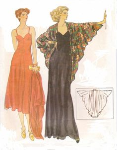 Vintage 70s Vogue Sewing Pattern 9905 Womens Spaghetti Strap Evening Fitted and Flared Dress and Evening Wrap Size 14 Bust 36