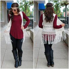 Natural Crochet Fringe Vest