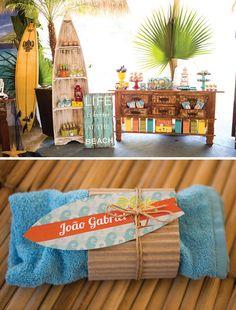 beachy surf themed birthday party invitation