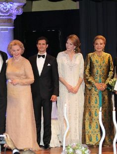 (L-R) Countess Marianne Bernadotte, Prince Carl Philip of Sweden, HM Queen Noor of Jordan and HM Queen Farah Pahlavi of Iran during the Marianne & Sigvard Bernadotte Art Awards Gala 2012 in Stockholm on 7 June 2012