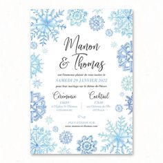 Faire-part mariage Hiver Flocons de Neige, hivernal bleu aquarelle Paper Supplies, Wedding Announcements, Professional Business Cards, Happy Birthday Cards, Custom Invitations, Anniversary, Winter Weddings, Snowflake Wedding, Couple Photography