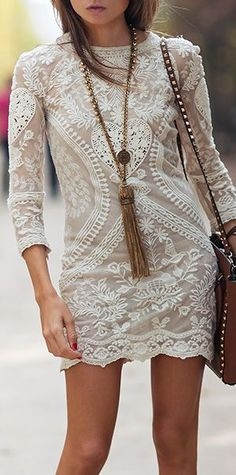 white lace #dresses with #sleeves