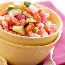 Ensalada de tomate y pepino al limón