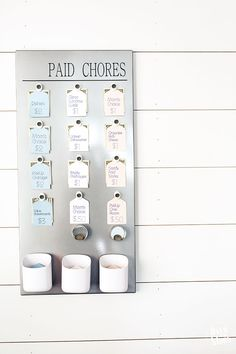 DIY Kids Paid Chore Chart DIY Kids Paid Chore Chart – this literally changed my life! Now my kids can buy their own summer treats, etc! Chore Rewards, Chore List, Kids Rewards, Diy Projects For Kids, Diy For Kids, Kids Crafts, Teen Chore Chart, Family Chore Charts, Kids And Parenting