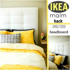 IKEA HACKS - What a transformation! I will show you how to make an upholstered headboard and how to turn an old IKEA malm bed into a completely new one. Ikea Design, Diy Ikea Hacks, Diy Tufted Headboard, Headboard Makeover, Headboard Ideas, Bedroom Makeovers, Panel Headboard, Malm Bed, Ikea Furniture