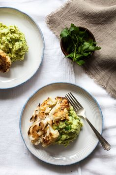 roasted cauliflower with edamame mash