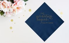 Adventure Begins Engagement Party Cocktail Napkins  Personalized Cocktail Napkins / Guest Towels – Custom Engagement Party Cocktail Napkins
