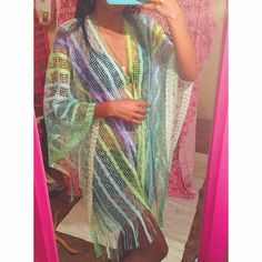 """Coconut Lime Beach Cover Poncho  Brand new still in original package  My Measurements  Height - 5'6  Weight - 110  26' waist bust' 34B For future references ❤️  Perfect for the beach , poolside or can be worn to any occasion  Vibrant colors  One size Fits All  Brand - Boutique  No asking for """"what's lowest"""" Offers through the offer button only  Swim Coverups"""