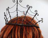 Spider Queen Spiderweb Tiara With Crystal Spider