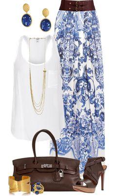 """""""Casual Blue Maxi Skirt"""" de angela-windsor on Polyvore...Cette juoe est super belle ...sans la ceinture brune."""