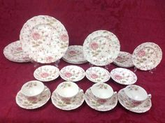Johnson Brothers Vintage Rose Chintz 24-Piece Set for FOUR Made in England #JohnsonBrothers