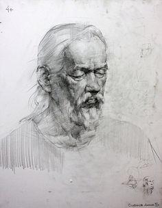 академический рисунок. портрет. чернографитный карандаш.