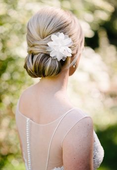 Sleek up-do, white flower hair accessory // Riverland Studios