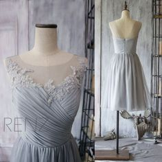 2016 grau Brautjungfer Kleid Chiffon Cocktailkleid von RenzRags