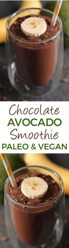 This healthy chocolate avocado smoothie is super quick, simple and ultra creamy! Doesn't taste a bit like avocados and can also be made as pudding {naturally gluten-free, paleo, with vegan and dairy-free options – please click through to the recipe to see