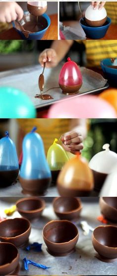 Easter with kids: 10 DIY activities and ideas - A great DIY idea that is easy to make with your children: you need balloons and chocolate! Yummy Treats, Sweet Treats, Yummy Food, Chocolate Bowls With Balloons, Creative Food, Diy For Kids, Ballons, Dessert Recipes, Food And Drink