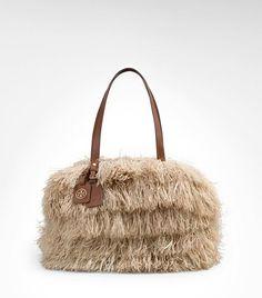 Tory Burch raffia zip satchel