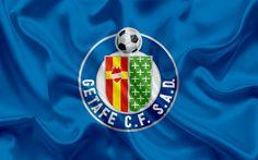 Download wallpapers Getafe, football club, emblem, Getafe logo, La Liga, Spain, LFP, Spanish Football Championships