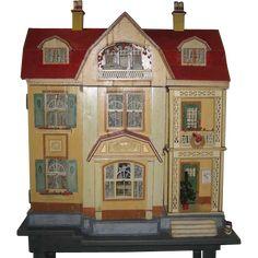 Antique German Gottschalk Red Roof large doll house c1912 from sondrakruegerantiques on Ruby Lane