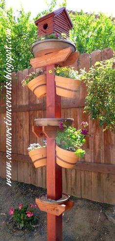 DIY Bird House, Bird Bath, Bird Feeder, and Terra Cotta Flower Pots