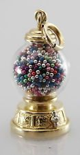 SIGNED 14k Yellow Gold 3D Moveable Gumball Machine Candy Store Charm VTG