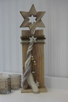Weihnachtsdeko Weihnachtsstern Aufsteller Stern Holz Shabby