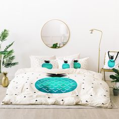 Buy Bed In A Bag with Turquoise Pineapple designed by Elisabeth Fredriksson. One of many amazing home décor accessories items available at Deny Designs. Turquoise Bedroom Decor, Grown Up Bedroom, Bed In A Bag, Buy Bed, Queen Bedding Sets, Bedroom Accessories, New Room, Floor Pillows, Home Goods