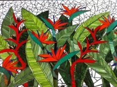 Bird of Paradise mural.  A commission for a clint at 'the Flight Deck' At Port Macquarie. Made in hand cut glass.