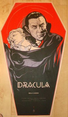 "Dracula - wood coffin variant silkscreen movie poster (click image for more detail) Artist: Martin Ansin Venue: n/a Location: n/a Date: 2011 Edition: 75; numbered Size: 22 3/4"" x 38 3/4"" Condition: NM"