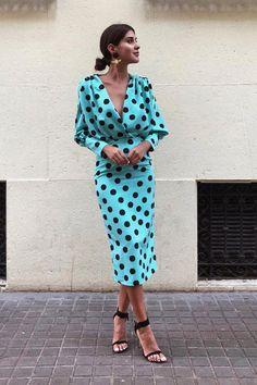 Polka Dot V Neck Long Sleeve Maxi Dress - Herren- und Damenmode - Kleidung Mode Outfits, Dress Outfits, Maxi Dresses, Blue Dresses, Mode Abaya, Look Retro, Bodycon Dress With Sleeves, Blouse Dress, Lace Dress